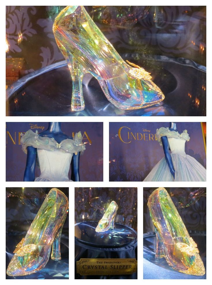 Cinderella's dress worn by Lily James in the movie along with the coveted glass slipper made of Swarovski crystal from the red carpet world premiere of Cinderella. Costume designer for the film, Sandy Powell brings high fashion to fairy tale in the colorful and dramatic all new Cinderella 2015.