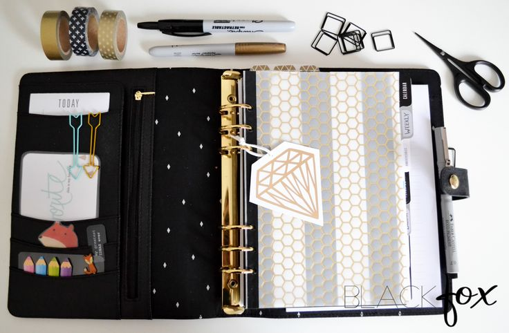 Kikki.K planner in black and gold colour scheme (Filofax)