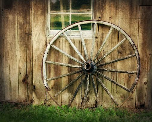 Rustic Home Decor Barn Photograph Wagon Wheel Wood Brown Primitive Old Amish Resting Place