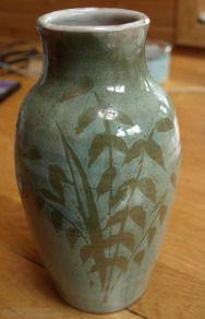 Tom Lochhead of Kirkcudbright Pottery green vase
