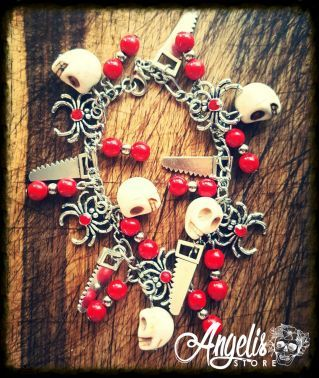 White Howlite Skull Charm Bracelet with Spider and Saw Charms
