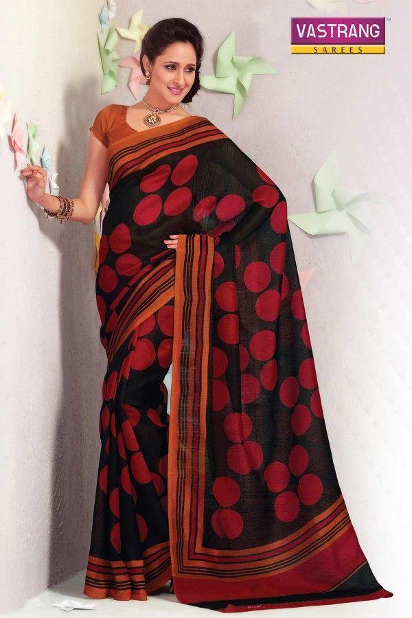 Black bhagalpuri printed saree