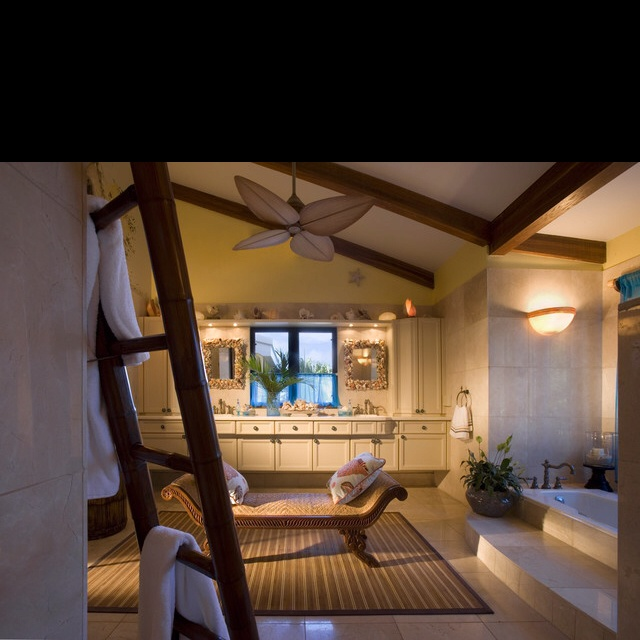 Ceiling fan in master bath- gotta have a ceiling fan in master bath