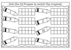 A FREE ten frame inspired by The Day The Crayons Quit. Math activity for Kindergarten: use paint dabbers to record the amounts up to 10.