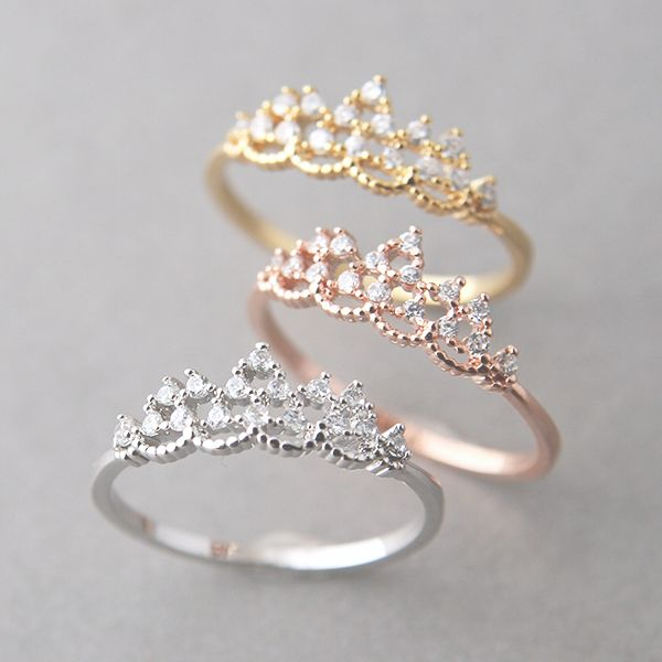 CZ Princess Tiara Ring White Gold from Kellinsilver.com – tiara ring jewelry, wedding tiara ring, tiara engagement ring