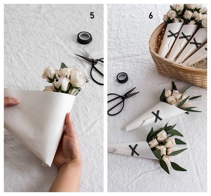 Geschenke für die Mutter, wie man einen Blumenstrauß macht, weiße Blumen