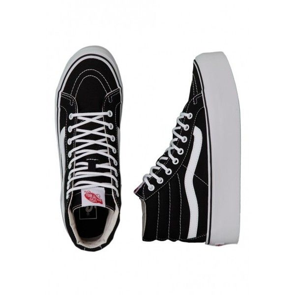 Vans Sk8-Hi Platform Canvas Black/True Girl Shoes ($41) ❤ liked on Polyvore featuring shoes, sneakers, vans, famous footwear, canvas platform sneakers, canvas sneakers, black canvas sneakers and canvas shoes