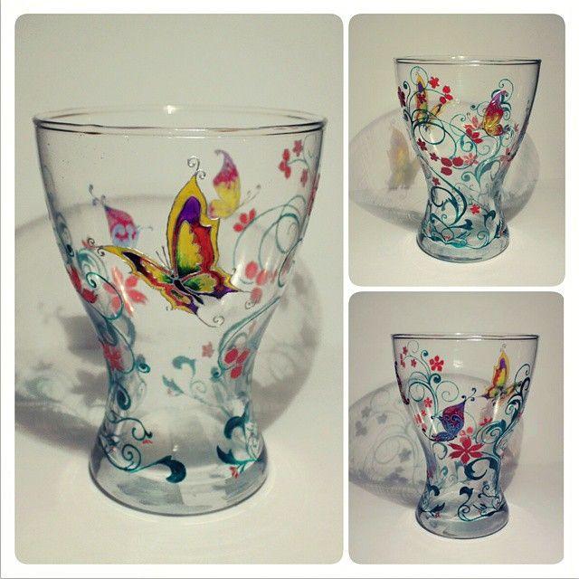 роспись по стеклу, акриловые краски decola #ваза #роспись #акрил #vase #painting #glass #бабочка #butterfly