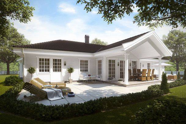 Pin Von Angelika Sz Auf Bungalow: Gartenansicht Mit Säulenportal Der überdachten Terrasse