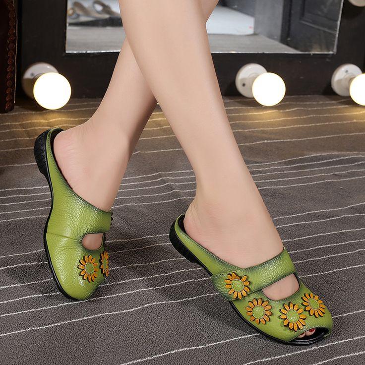 Leather women's flat slipper open toe sandals slip on low heeled shallow summer slippers female
