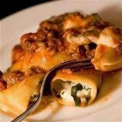 Jumbo Pasta Shells Stuffed With Ricotta, Mozzarella And Parmesan ...