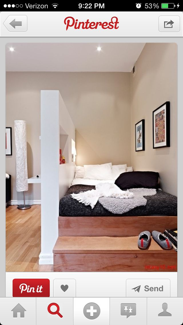 When I would have a studio I would build my bed like this. LIKE!