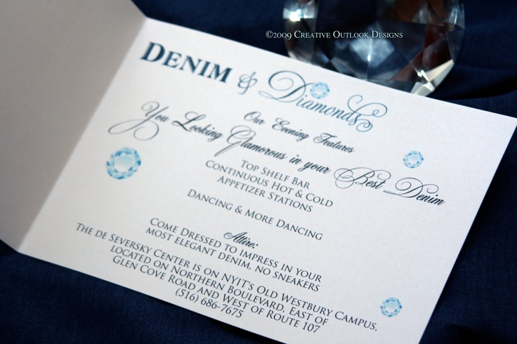 Creative Outlook Designs: Denim and Diamonds Theme Invitation | Wedding dress code wording. Wedding invitations. Denim and diamonds