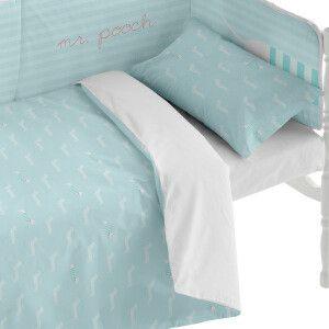 Funda nórdica y funda de almohada azul claro y blanco Varias tallas disponibles