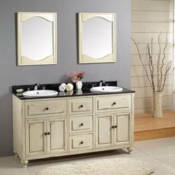 Cottage White Brittany 60 Inch Double Vanity Cabinet | Overstock.com  Shopping   The. Cheap Bathroom ...
