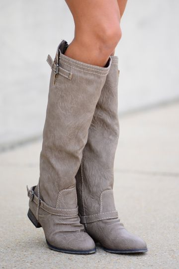 OMG we love the beige color of these boots...just gorgeous! Thanks to the straps around the ankles, these boots are oh so trendy:) Trust us, you do NOT want to miss out on these. <br /> <br />These run a bit small. We recommend going up half a size. <br />Calf circumference=15 inches Shaft=16inches