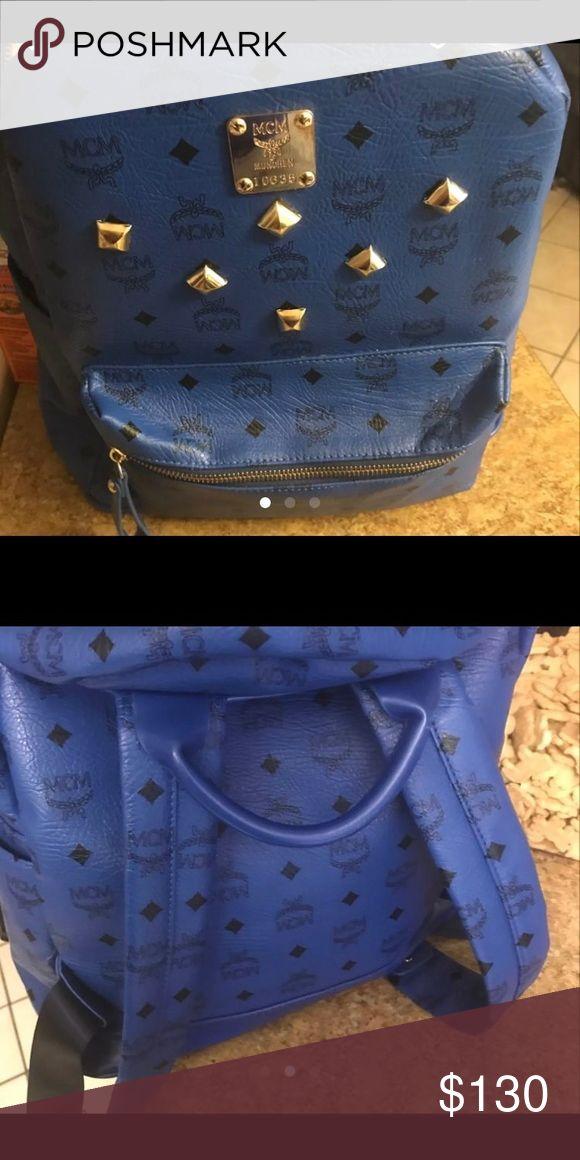 Mcm Bookbag Blue mcm Bookbag great for school needs a new zipper MCM Bags Backpacks