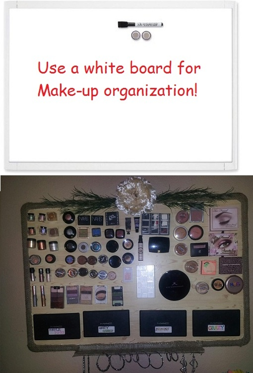 White board for Make Up Organization ~I put my spin on a DIY project I pinned. I used a discarded white board, covered the white with wall paper, hot glued the border with burlap material & a flower for pizzaz. (Turns out the burlap material was perfect for hanging earrings). Last step... hot glue a magnet on each piece of make-up and vuala'! :0)