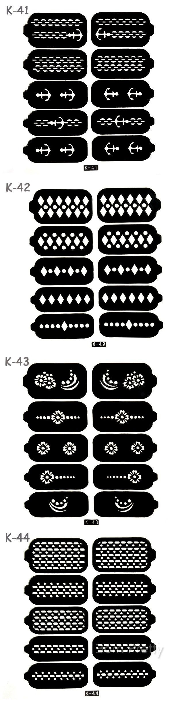 $3.99 10 Tips/Sheet Nail Vinyls Chain Anchor Pattern Nail Stencil Stickers#K41/K42/K43/K44 - BornPrettyStore.com