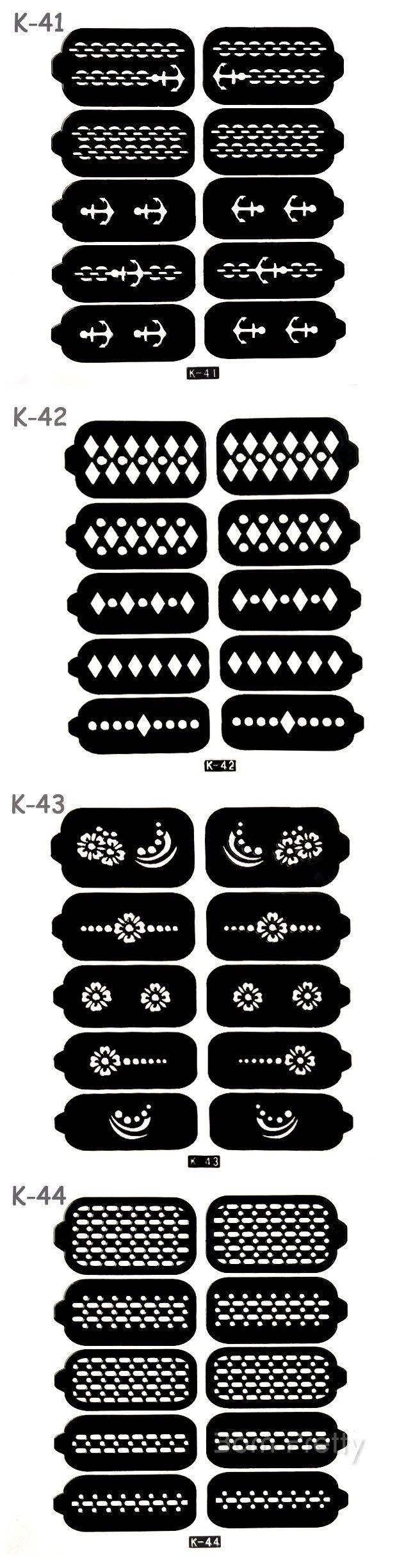 $3.99 10 Tips/Sheet Nail Vinyls Chain Anchor Pattern Nail Stencil Stickers#K41/K42/K43/K44 - BornPrettyStore.com