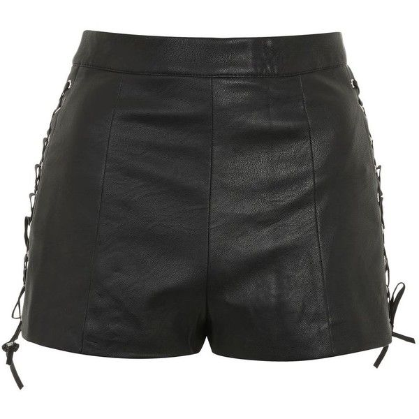 Topshop Lace Up Side Pu Shorts ($48) ❤ liked on Polyvore featuring shorts, topshop, black, topshop shorts, laced shorts and lace up shorts