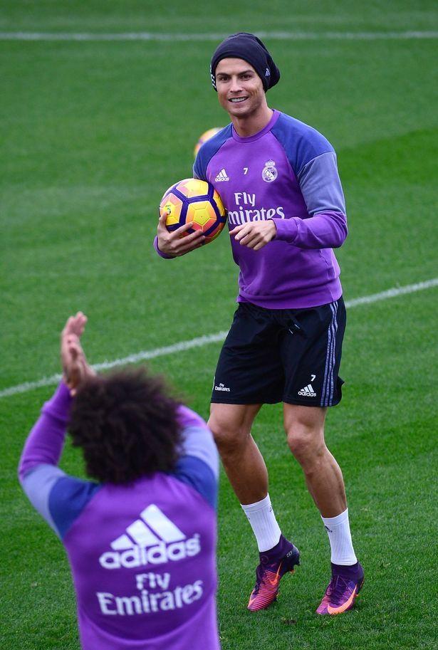 Cristiano Ronaldo enjoys Real Madrid training.