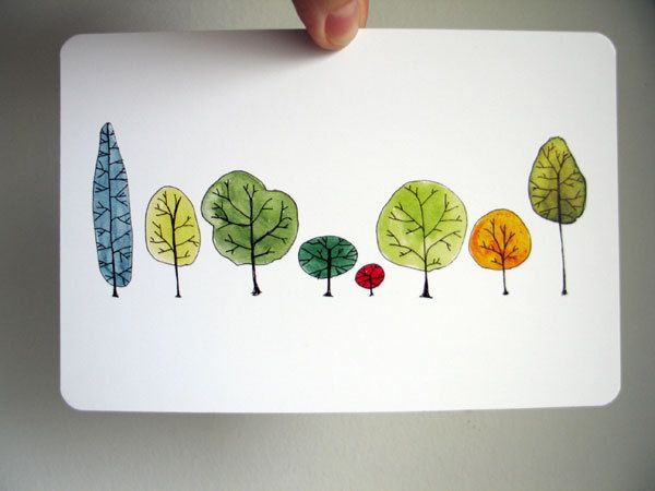 Row Trees Art Postcard - from original watercolor painting. $2.00, via Etsy.