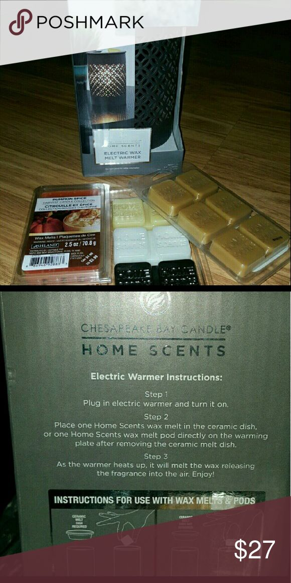 Electric wax melt warmer Chesapeake Bay candle..Brand new in box. Includes 3 new packages of melts..scents include pumpkin spice.  Vanilla . caramel latte never used Chesapeake  Other