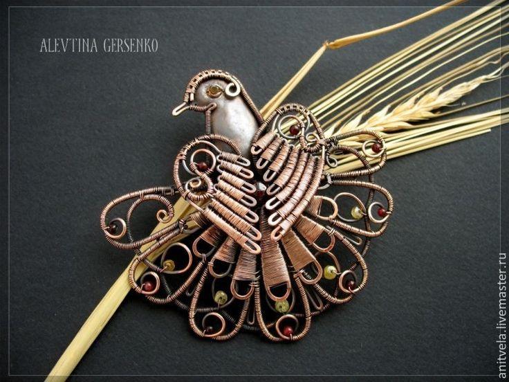 """Купить Брошь """"Птица"""" - украшения ручной работы, украшения из проволоки, проволока, медь, медная проволока"""