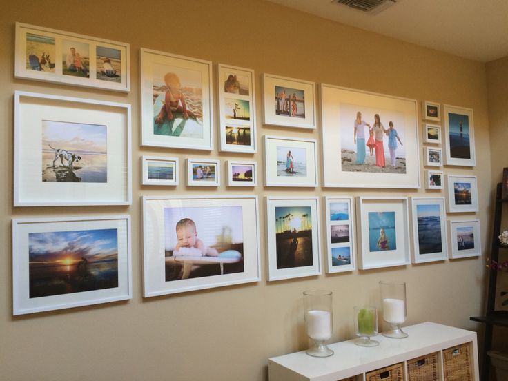 DIY galley wall with IKEA frames See How to do this: https://brittdowell.wordpress.com/2015/02/12/easy-diy-tutorial-gallery-wall-with-ikea-ribba-frames/