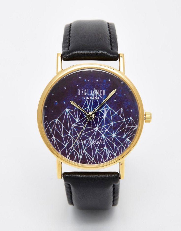 Изображение 1 из Черные часы с принтом Reclaimed Vintage
