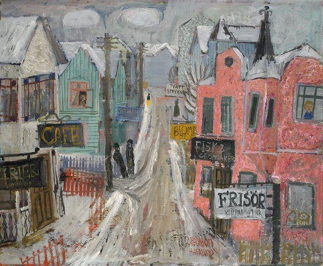 Olle Olsson-Hagalund (1904-1972) Vid frisörernas hörna
