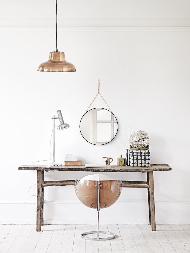Copper| home office| working at home| desk| mirror| vintage| wood