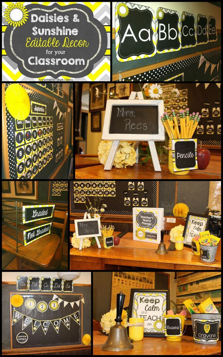 Editable Chalkboard Classroom Decor - Sunshine and Daisies. LOVE the classy cheerfulness of the yellows, grays, and chalkboard of this classroom decor! Beautiful!