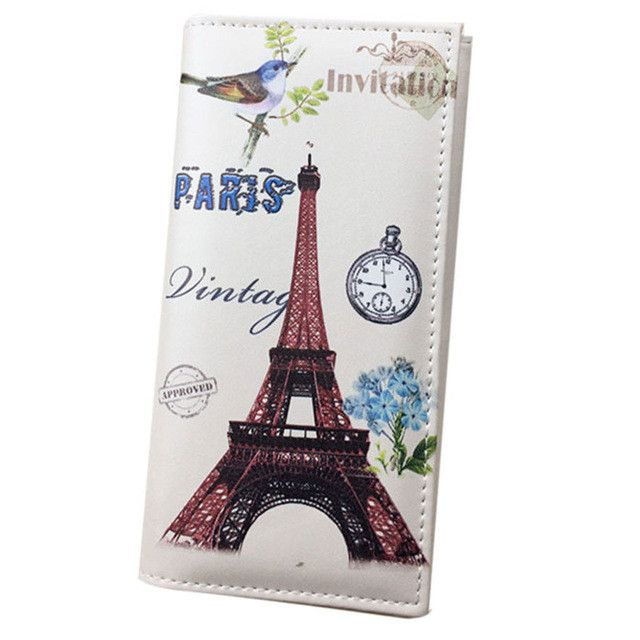 Xiniu wallet women leather Paris Flags Eiffel Tower Lady Long Wallet Coin Purses Women Wallets carteras mujer #0511WL