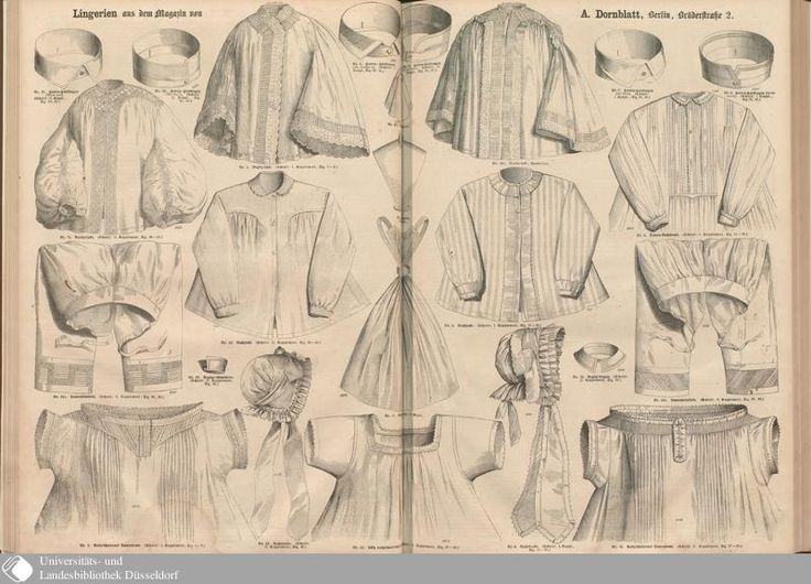 1860 Der Bazar. Neglige plate: Chemises, drawers, night-dresses (what would later be called combing jackets), night-caps, men's collars. [jrb]