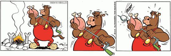 Môeuh !  un drôle de zoo ! Si le personnage principal de la série est un bœuf hyperactif portant une salopette tous les animaux de la création se succèdent au fil des gags: serpents gorilles lions chiens oiseaux cochons chats girafes pieuvres pingouins tortues kangourous le tout dans un joyeux désordre.  Nos deux auteurs enrichissent sans cesse leur improbable ménagerie. Loin des animaux humanisés à la Disney les habitants de ce drôle de zoo sy ébattent en toute liberté et vivent non sans…