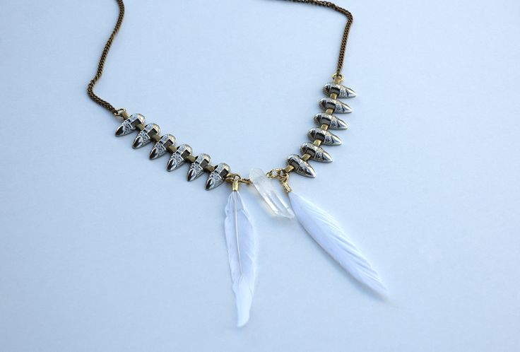 Raw Quartz Crystal Bohemian Spiked Feather Necklace https://www.etsy.com/listing/190375266/raw-quartz-crystal-bohemian-spiked?ref=shop_home_active_1