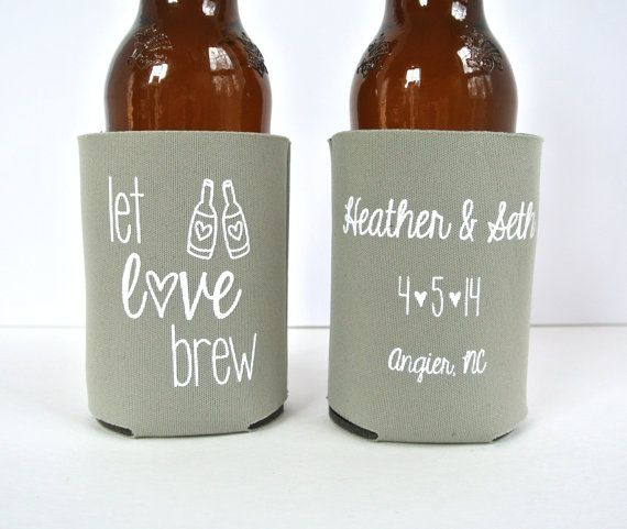 Kool A Brew Can Coolers ~ Wedding favors let love brew personalized can
