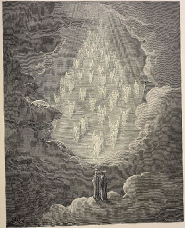 Paradise: Dante sees the formation of a golden ladder and souls descending from the steps  Creator: Doré, Gustave  Date: c.1868
