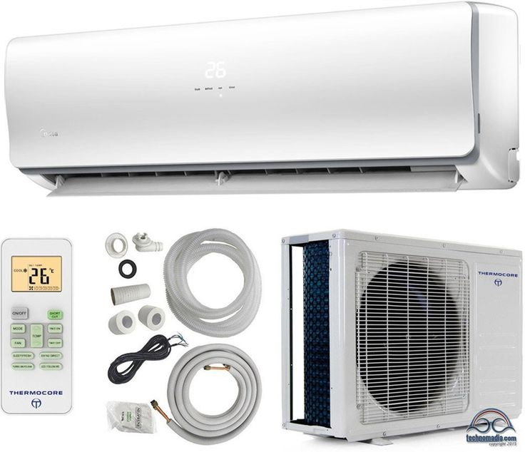 """A Mini Split air conditioner requires an indoor wall mounted unit connected via cooling hoses with the """"outdoor"""" unit tucked away somewhere well ventilated."""
