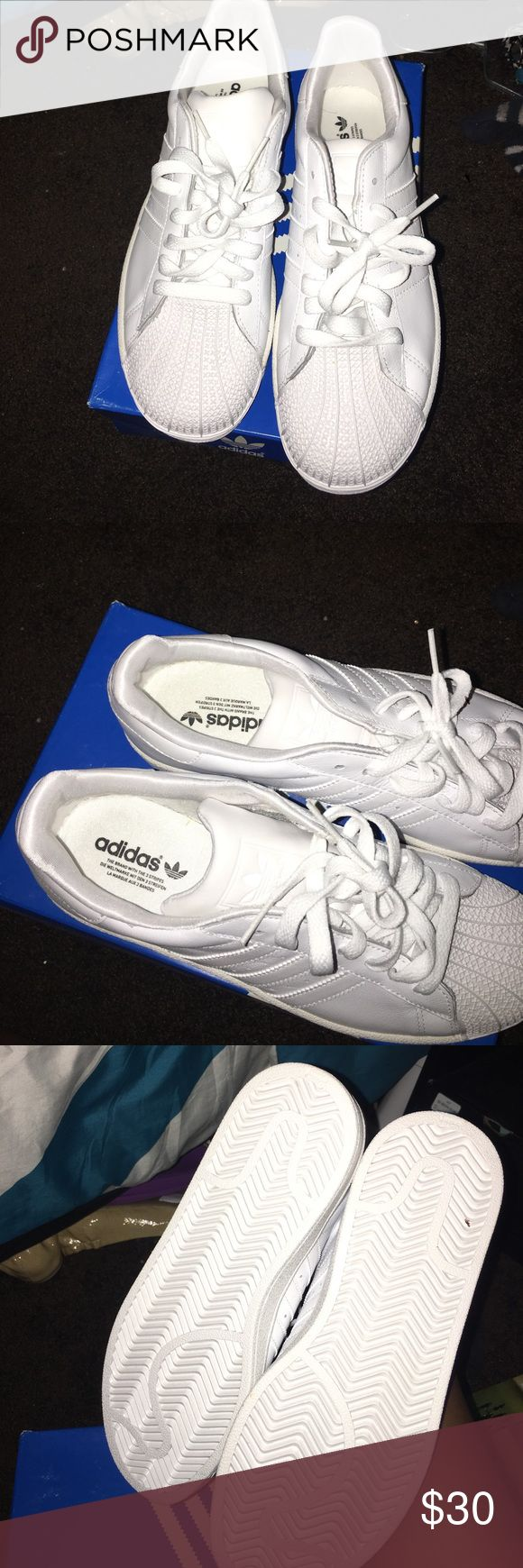 Adidas Superstar Adidas Superstar all white worn once in great condition adidas Shoes Sneakers