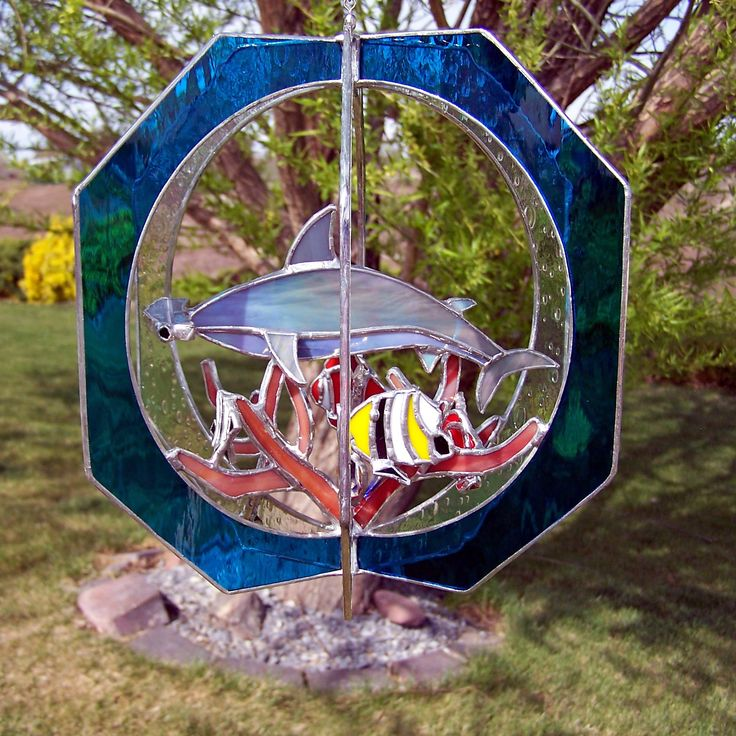 hammerhead shark stained glass outside side Stained