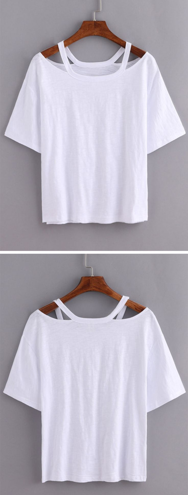 Plain white shirts cheapest t shirt jpg - Cutout Loose Fit White T Shirt