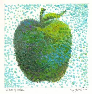 """DAY 81-(3/22/13) """"POINTILLISM""""  """"Pointillism is like community – many disparate points coming together to make a whole....I'd love for you to be one dot in our community of many; making a difference for Ankylosing Spondylitis Awareness and research for a cure!""""   Repin this apple and become apart of the AS community. #SpreadingASAwareness"""