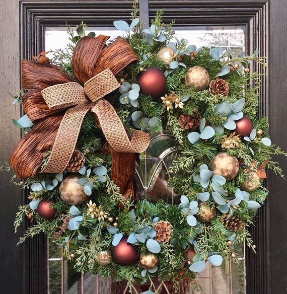 Winter Wreath Fall Through Winter Wreath Neutral Christmas Wreath Natutal Wreath Holiday Door D Winter Wreath Gold Christmas Decorations Christmas Wreaths