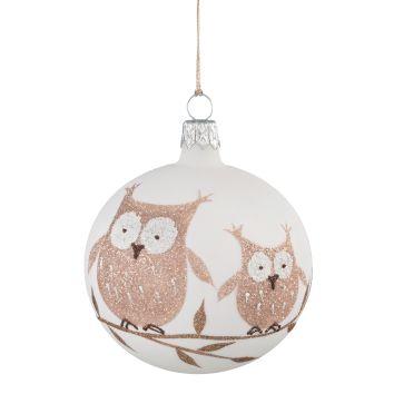 Weihnachtswelt Kugel weiß mit Eulen