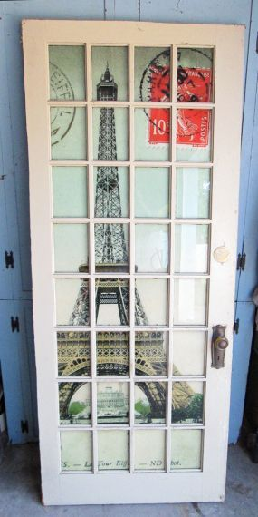 Eiffel Tower Glass Panel Door.  This is a fun idea to have the picture behind large and in a sepia or old-looking finish