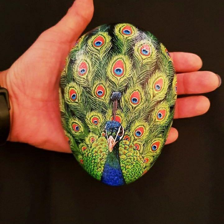 #art-yt Pavo real, pintura acrílica sobre piedras a mano por Yuk-moy Tan.