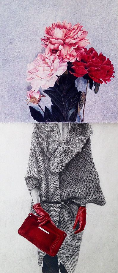 Dominique Schwarzhaupt | drawing. Colored pencil on paper. Dibujo. Streetstyle. Peonias